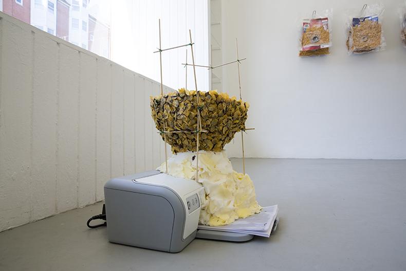 Assimilationssystem, 2013. Printer, margarine, cornflakes, chokolade, print på papir, lakune, grillspid, grøn tråd. 54 x 44 x 35 cm